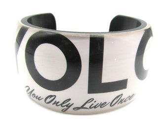 9b911099679 YOLO Cuff Bracelet White Black Resin Handmade Fashionable Party Cocktail  Statement Accessory
