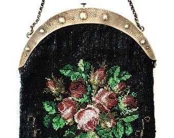 Verkauf: Exquisite antike Edwardian deutschen Micro Perlen Handtasche