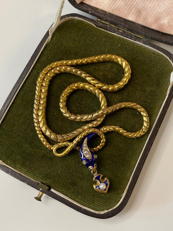 See video antique Victorian snake necklace blue e… - image 2