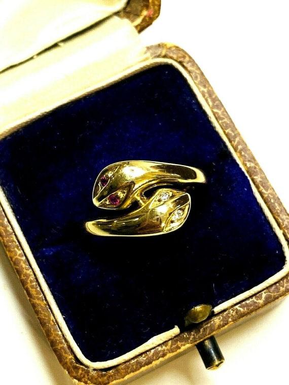 Vintage 14k Gold Snake Ring Ruby Brillant Diamonds