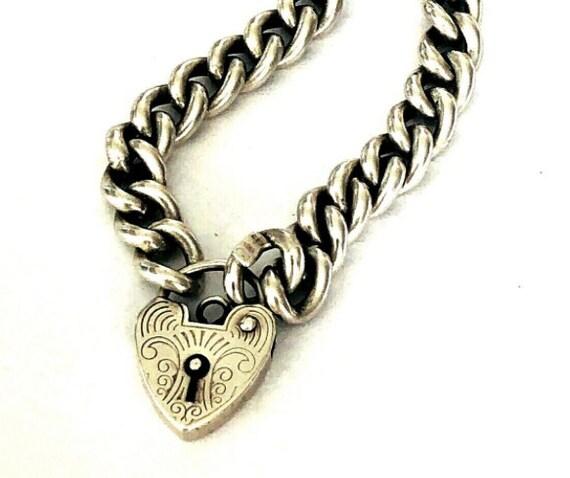 England : Vintage bracelet silver Padlock Heart Lo