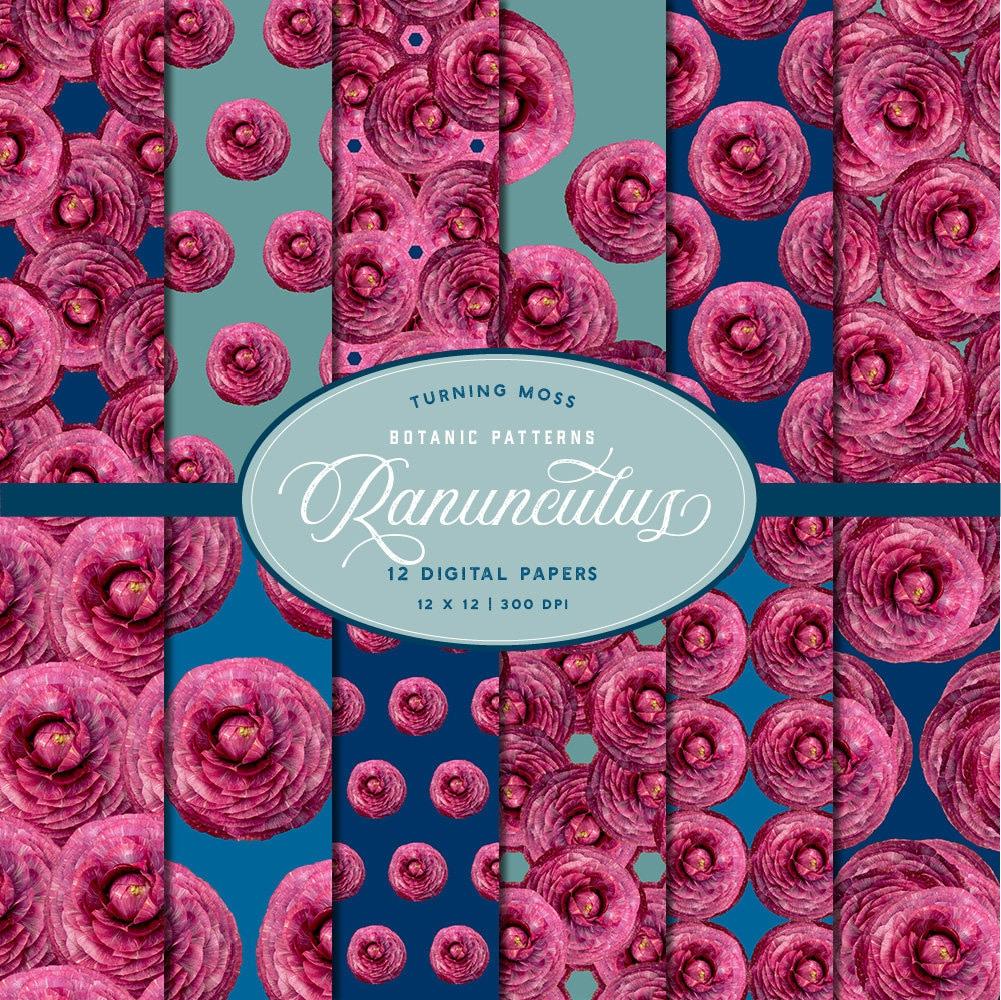 Pink Ranunculus Digital Paper Ranunculus Flowers Digital Etsy