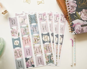 Large Print Bible Journaling Tabs Old and New Testament 66 Book Indexing Tabs and 34 Blank Sticky Tabs for Girls 100 Pcs Floral Bible Tabs for Women Kids,Study Bible
