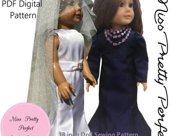 Doll Wedding Dress PDF Pattern, American Girl Wedding Dress, PDF Wedding Dress Pattern, Mermaid Style Dress, Doll Bridesmaid Dress Pattern