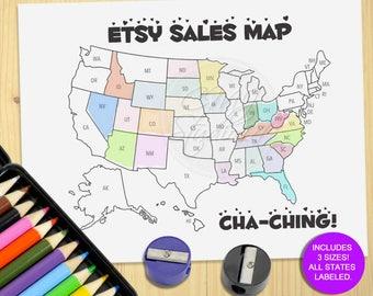 etsy goal usa map printable color map digital sale tracker etsy