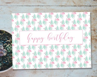 Flamingo Birthday Card Blank Printable Pink And Green Quick DIY Print Trim Fold 7x5