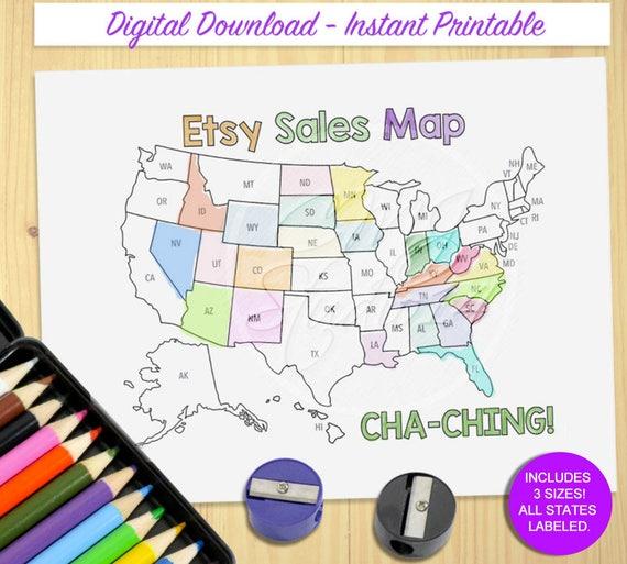printable sales map etsy cha ching map sales tracker map etsy