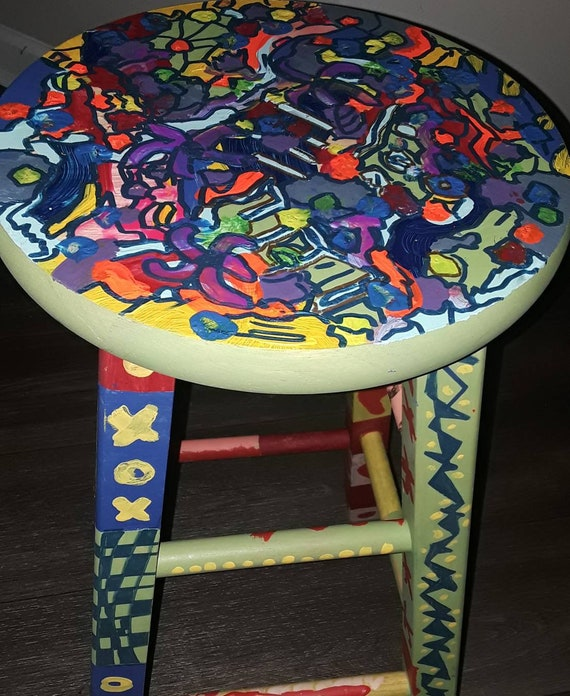 Tremendous Wildly Colorful 24 Inch Wood Stool Original By American Artist Gamerscity Chair Design For Home Gamerscityorg