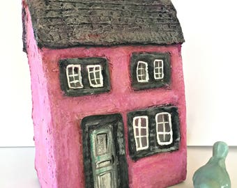 Small, Miniature Paper Mache House, Pink House with Black Shutters