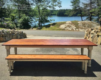 Extra large farmhouse table with husky turned legs