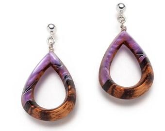 Purple water drop classic wooden earrings