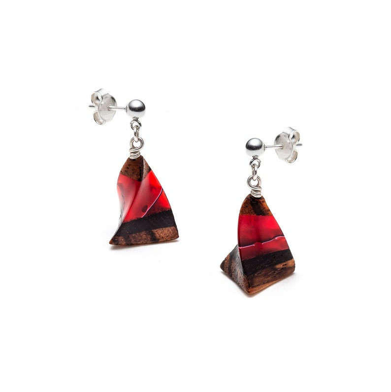 Carved colourful wooden earrings  image 0