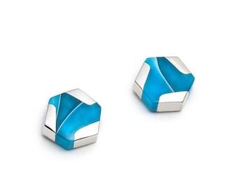 Small Hexagonal turquoise stud Earrings