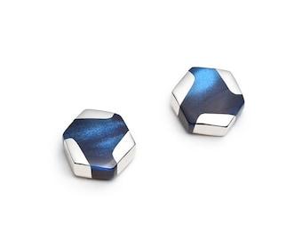 Navy blue hexagonal mini earrings