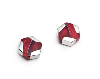 Red hexagonal mini earrings