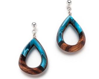 Water drop carved wooden earrings