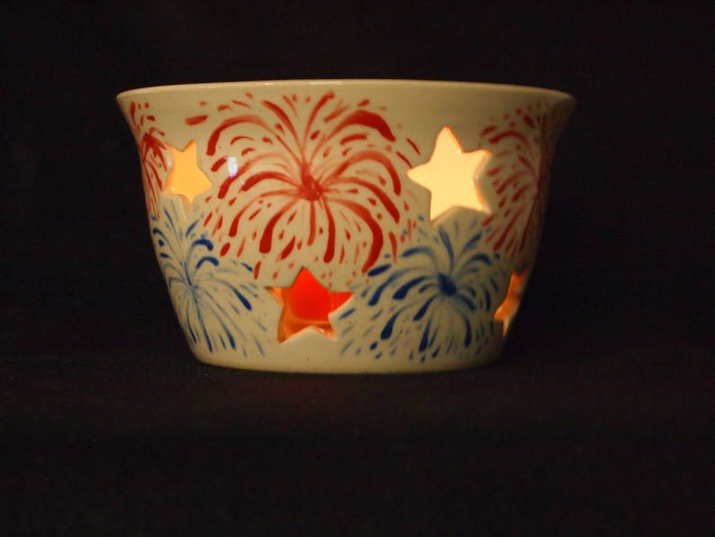4th of July Summer Outdoor BBQ Decor Candle Sleeve with Red and Blue Fireworks and Star Cut Outs White
