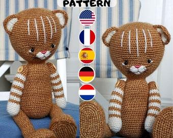 CROCHET PATTERN - Amigurumi Kitty Cat - English, Deutsch, Français, Nederlands, Español - Crochet Toy Pattern
