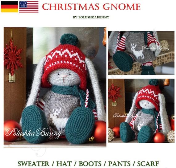 Muster: Der Weihnachtszwerg Hase häkeln Kostüm