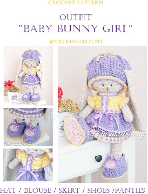 Crochet pattern for Baby Bunny Outfit for Toy blouse / skirt