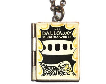 Mrs Dalloway, Virginia Woolf Book Necklace, Classic Literature, Literary Earrings, Book Necklace Bookmark Keychain
