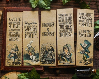 Alice in Wonderland Bookmarks, C. S. Lewis Quote, Alice's Adventures in Wonderland, Curiouser and Curiouser, White Rabbit, Literature Gift