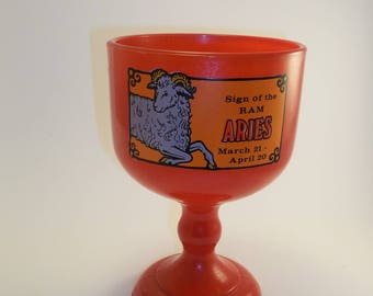 Retro Aries Red Glass Goblet