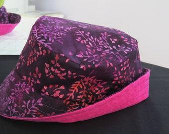 Large purple and pink batik sun hat
