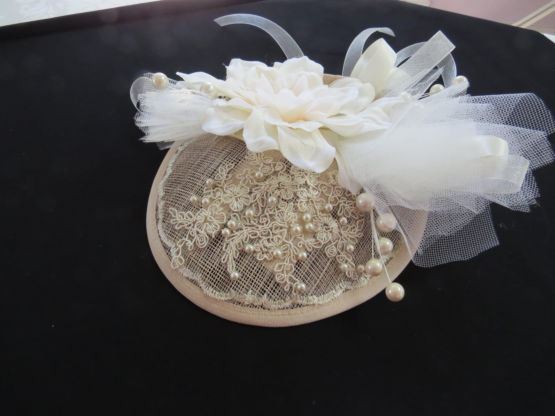 22802330902 cream magnolia wedding fascinator 2
