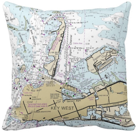 Florida Keys Collection Nautical Chart Pillows Boca Chica Etsy