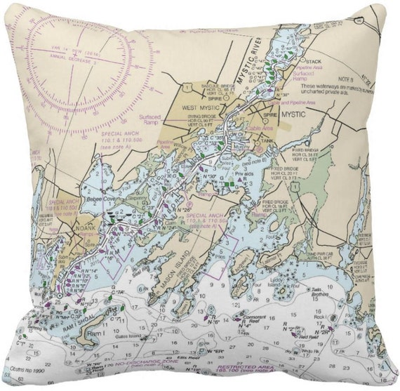 Mystic Ct Nautical Chart Pillow Etsy