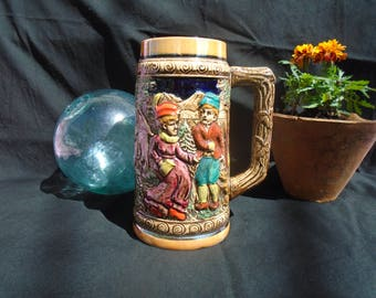 Vintage glazed ceramic - 70s beer mug