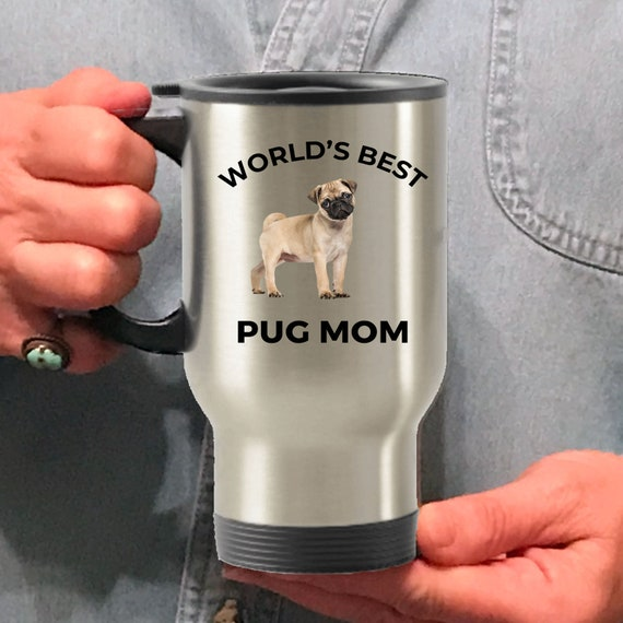 Stainless Steel Insulated 16 oz Travel Coffee Mug Cup Pugs Make Me Happy