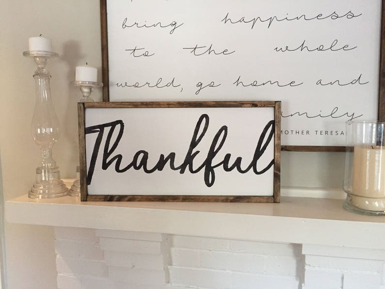 Thankful Large Version Wooden Sign