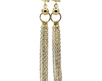 14K Solid Yellow Gold Beautiful Dangling Chain Earrings