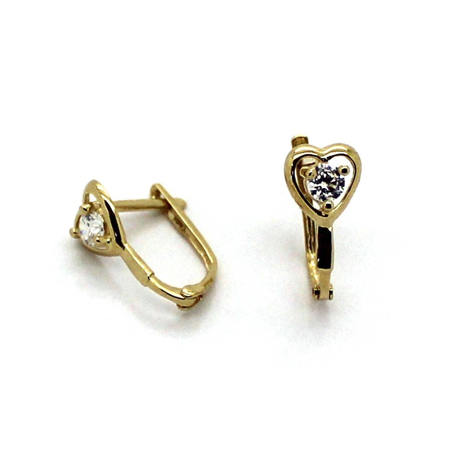 14k Yellow Gold Leverback Earrings with Cubic Zirconia Colored Heart Stone...