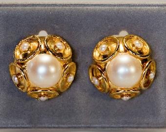 Große Sehr Schöne Designer Ohrclipse Aus 925 Silber Mit Perlen Schmuck & Accessoires