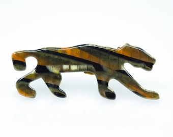LEA STONE - PARIS Vintage Celluloid Panther Brooch Brooch 1970s 80s Couturier Modernist France Fashion