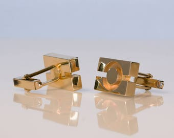 Vintage PIERRE BALMAIN PARIS Cufflinks Gold plated Cufflinks 1970's Couturier Modernist Designer Dapper Dandy Style