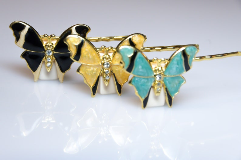 Butterfly Shape 3 pcs Barrette Bobby Pin Haarclip bzw Vintage jewelry Haarklammer mit Strass Steinen gefasst Hair Clip Rhinestone