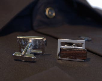 Vintage Pierre Balmain Paris cuff buttons Rhodium Cufflinks 1970 Couturier Modernist designer-boutons de cuff