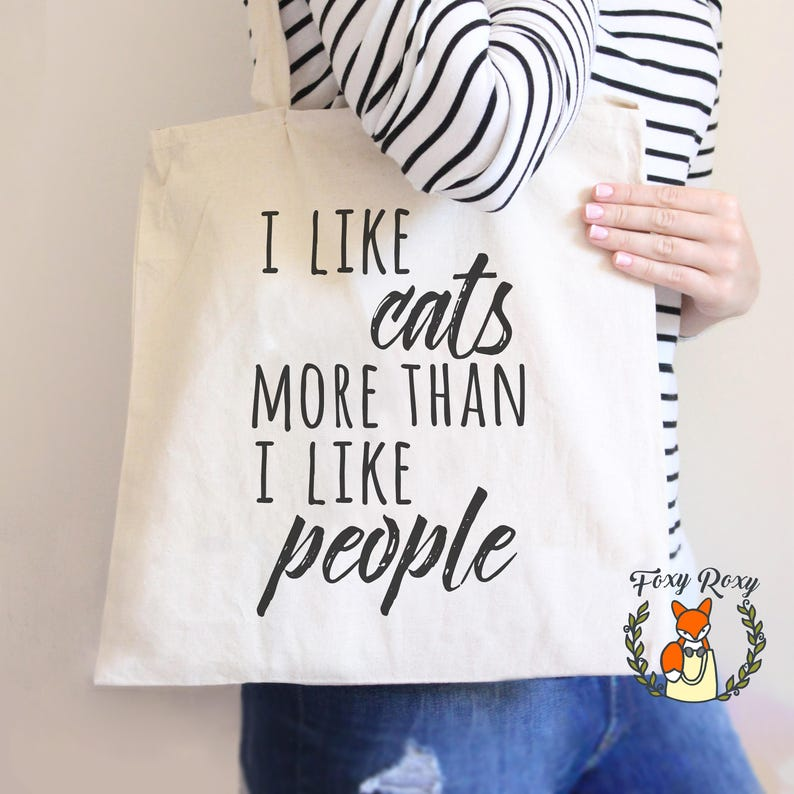 7ae91e7b43 I Like Cats More Than I Like People Tote Tote Bag Cat Dad | Etsy