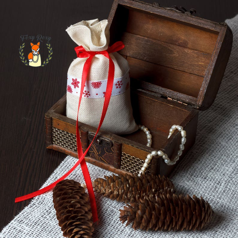 FB-002 Christmas Candy Bags Canvas Favor Bags Natural Cotton Favor Bags Coffee Bags Christmas Favor Bags Chrismas Party Gifts