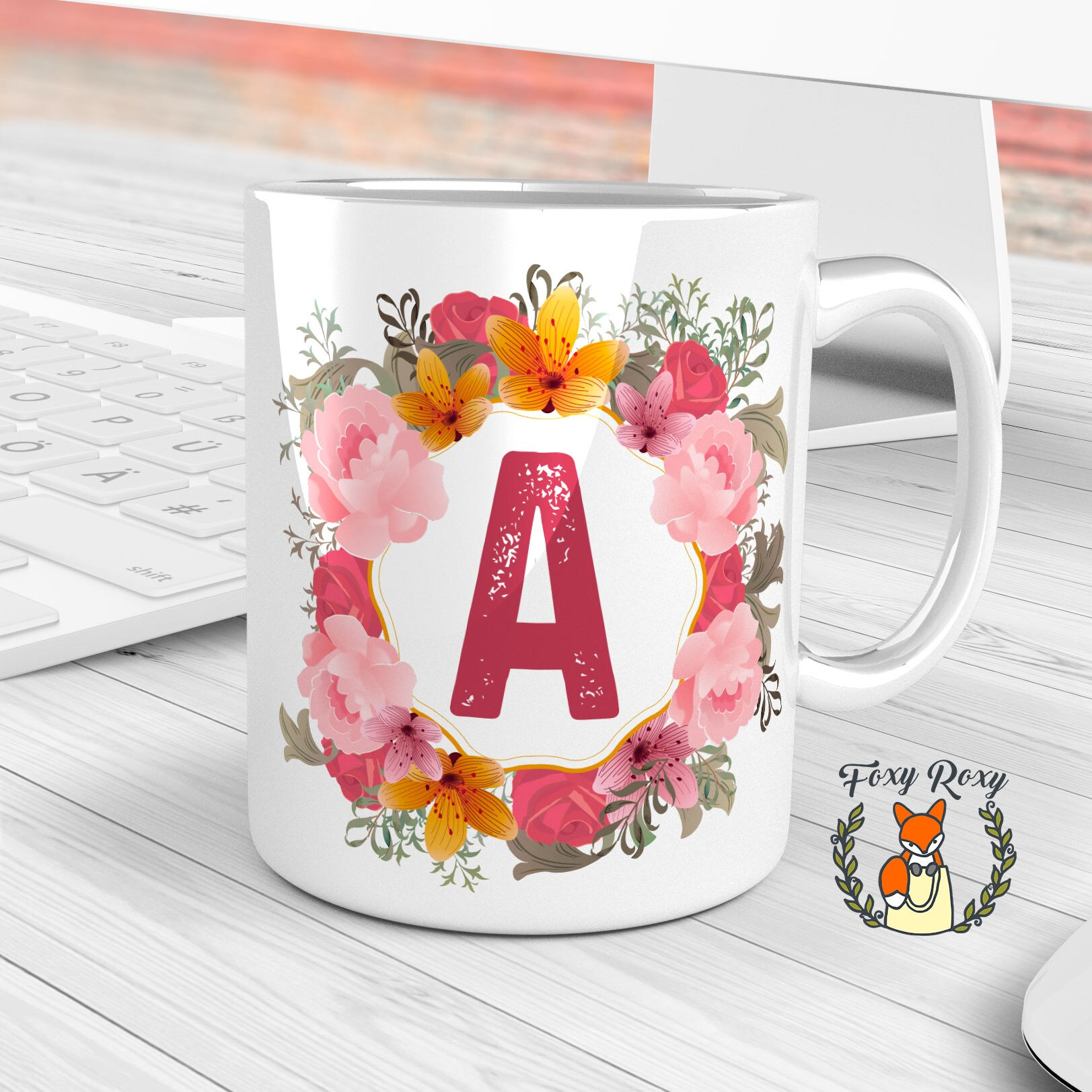 Monogram Mug Floral mug Custom Mug Floral Initial Coffee   Etsy