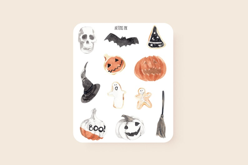 Halloween Stickers Aesthetic.Halloween Stickers For Bullet Journals And Planners Planner Stickers Bullet Journal Stickers Cute Stickers Aesthetic Stickers