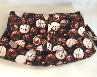 Gourmet Chocolates Truffles Handmade Wristlet Clutch Makeup Bag