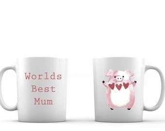 Printed mug Mothers day mug Mothers day gift Pink pig bunting Mothers day Mothers day present Coffee mug custom mug