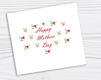 Mothers day card Mothers day Holiday card Greetings card blank inside white envelope