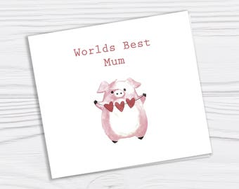 Mothers day card Mothers day Mum birthday card Mothers day pig card Holiday card Greetings card blank inside white envelope