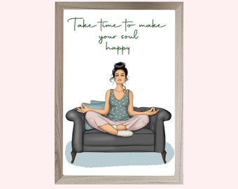Yoga wall art, Take time to make your soul happy, wall art
